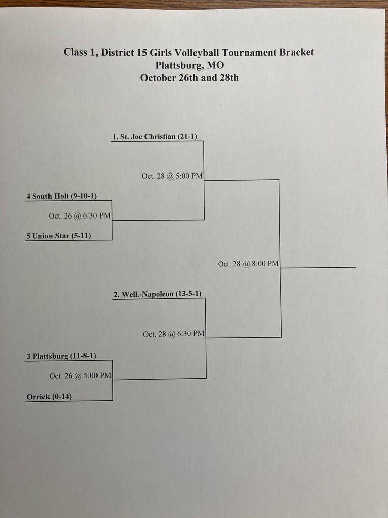 2020 District 15 Volleyball Tournament Bracket