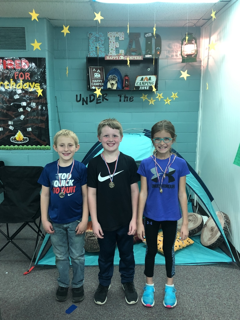Top 3 finishers of second grade sight words. Lukas-1st, Hayzen-2nd, Piper-3rd