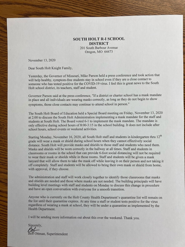 South Holt R-1 Mask Mandate Letter