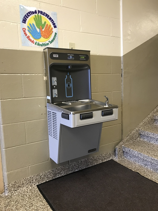 New water fountain with bottle filling station.