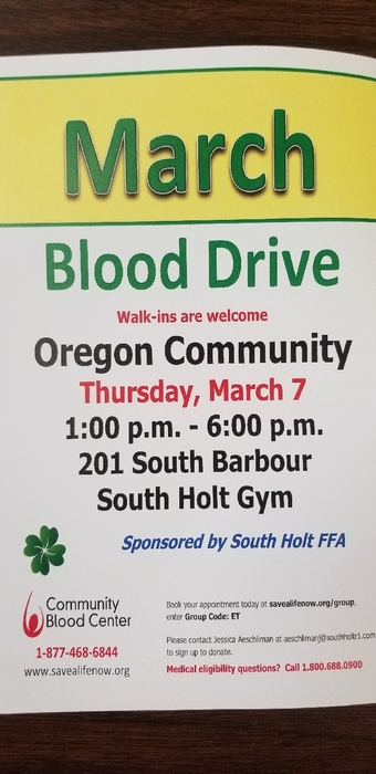 FFA Blood Drive next Thursday.