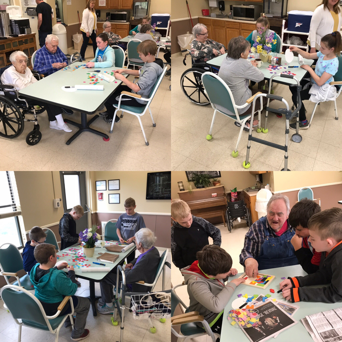 Fifth graders spent the morning at the Oregon Care Center. They made Easter sun catchers, put puzzles together and visited with the residents.