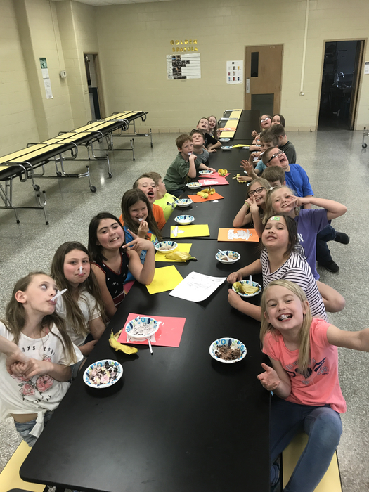 3rd grade celebrating working hard on their multiplication facts with an ice cream party!