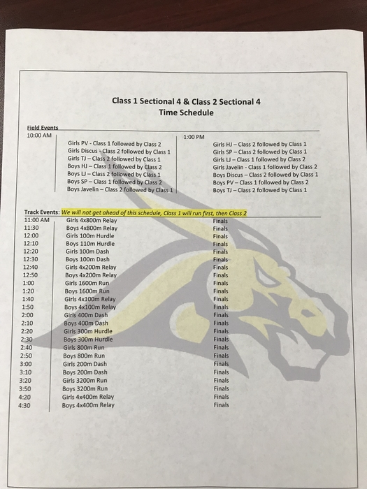 Sectional Track schedule