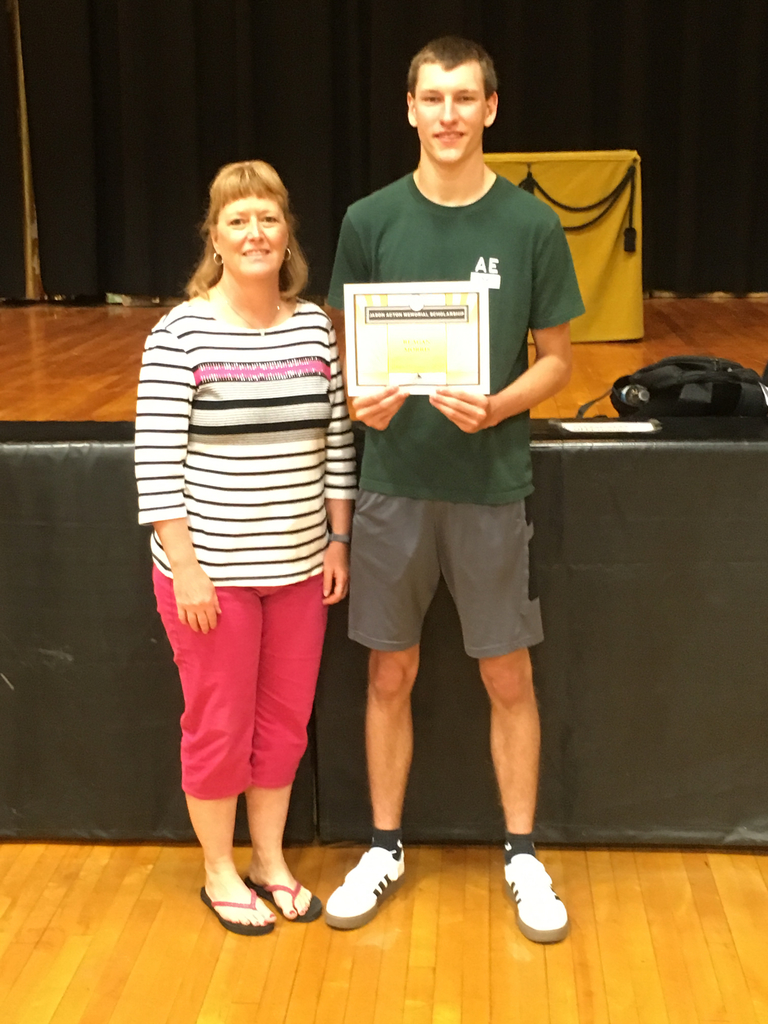 Mrs. Lisa Slusher presented Reagan Morris with the Jason Acton Memorial Scholarship.