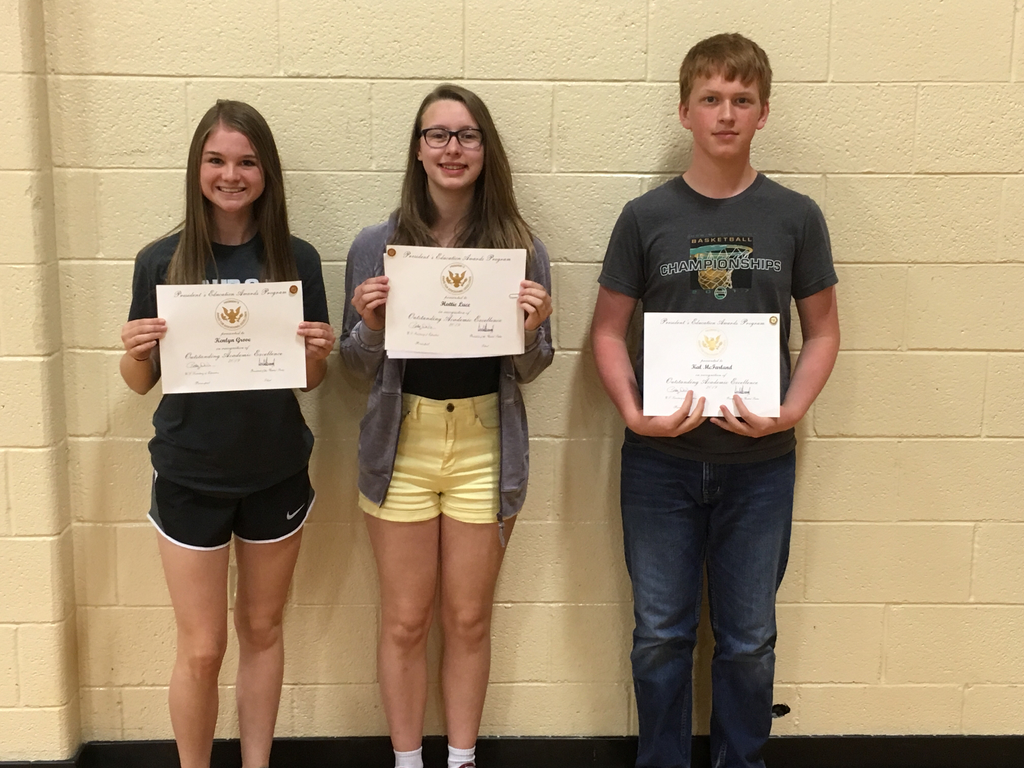 Congratulations to Kenlyn Grove, Hattie Luce and Cal McFarland for receiving the Presidential Academic Excellence Award.