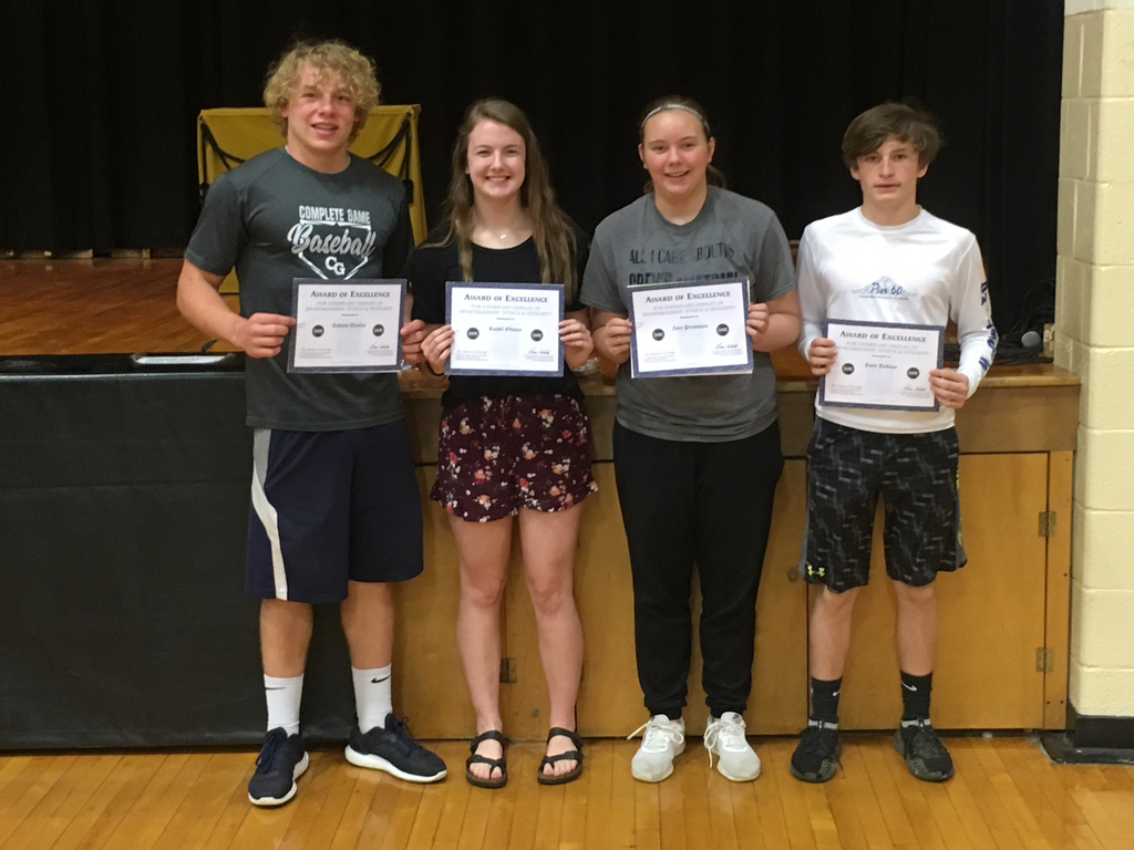 Congratulations to High School students Drew Quinlin and Rachel Ottman as well as Junior High students Zoey Prussman and Jayce Jackson for receiving the MSHSAA Sportsmanship Award