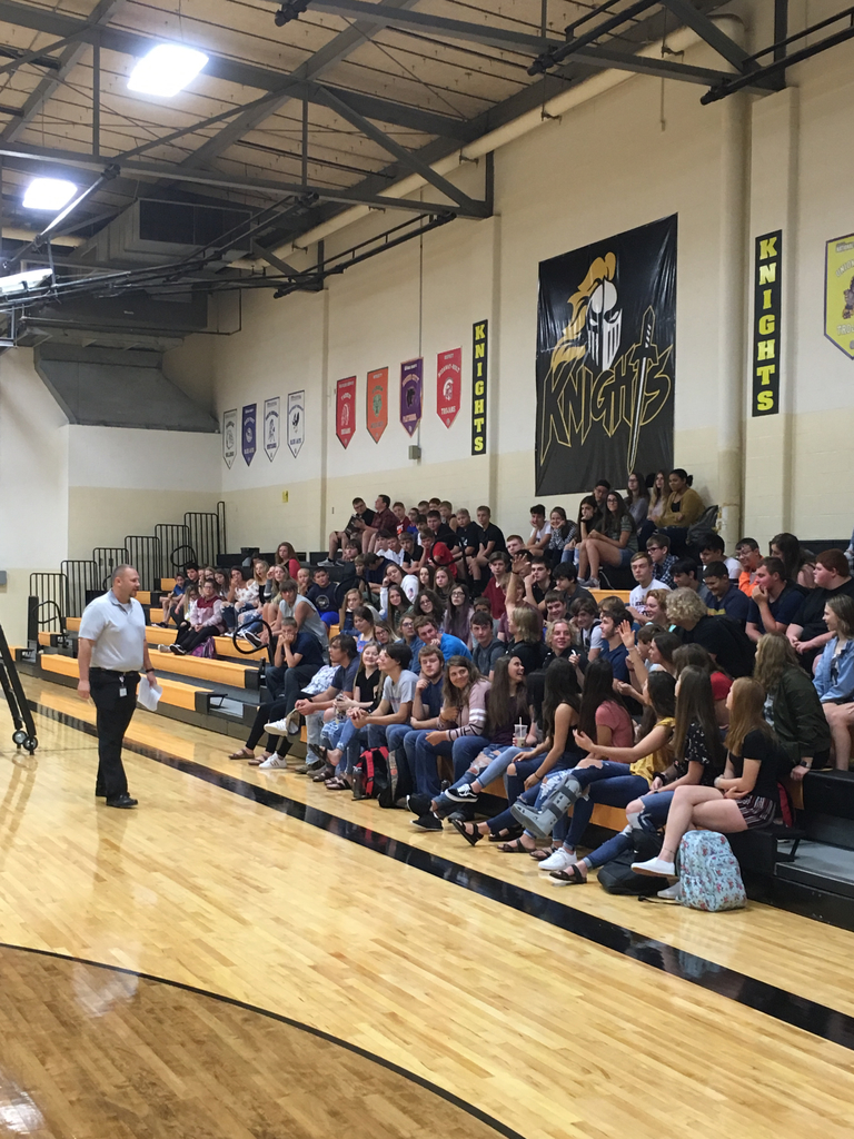 Mr. Anderson having his beginning of the year assembly with the 7-12th grade students.