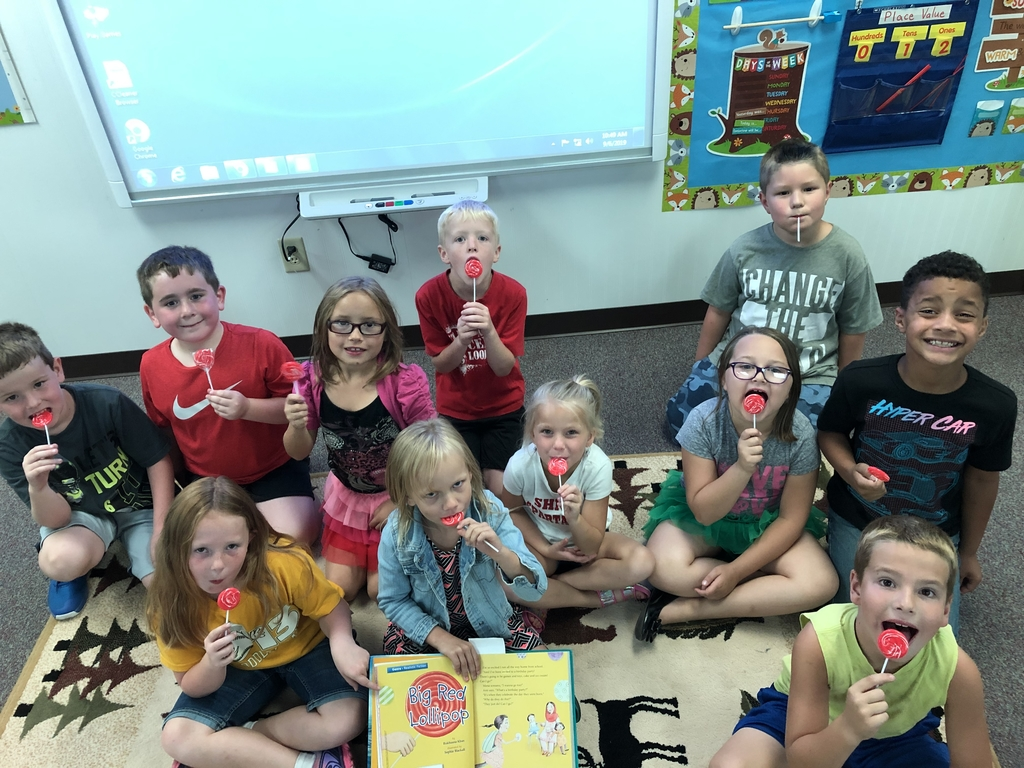 Enjoying Big Red Lollipops after taking a quiz over the story we focused on for the week.