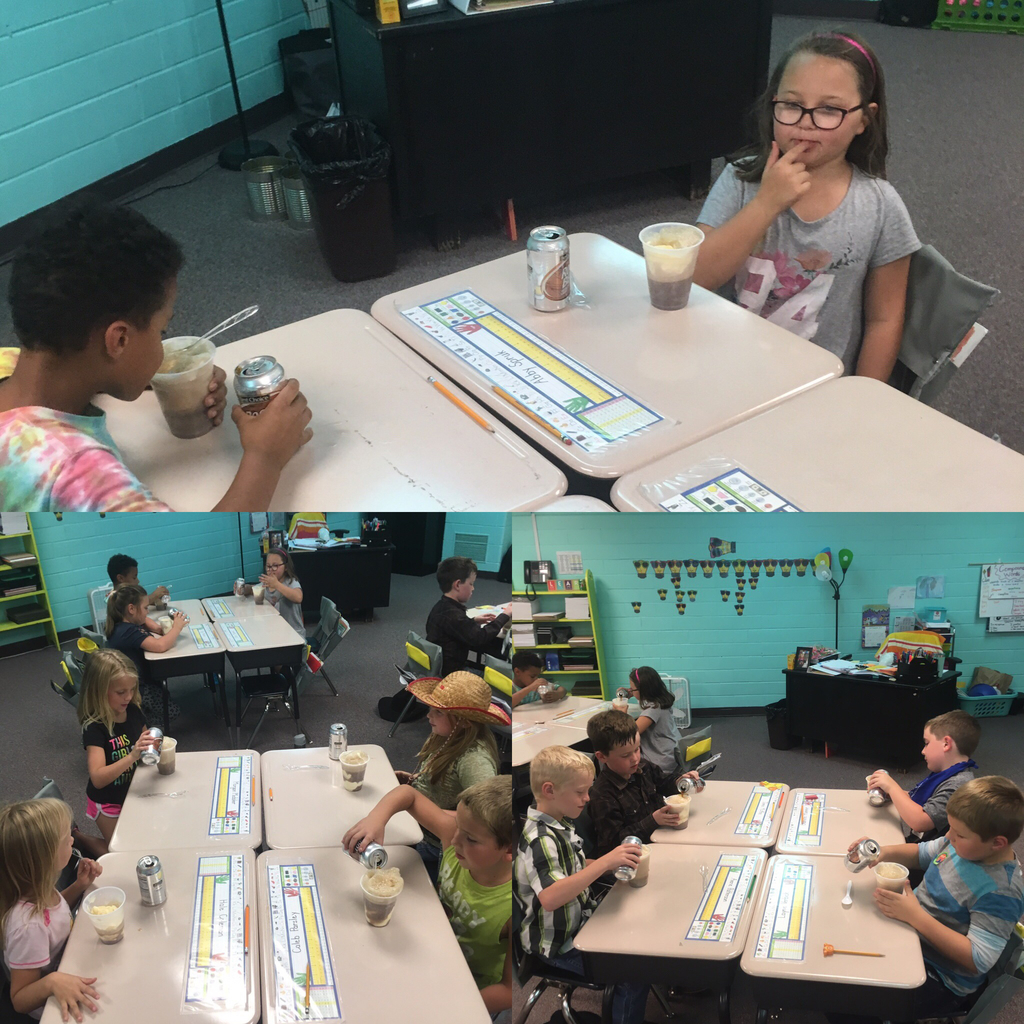 Mrs. Nester's class enjoys Solids, Liquids and Gases in the form of Root Beer Floats