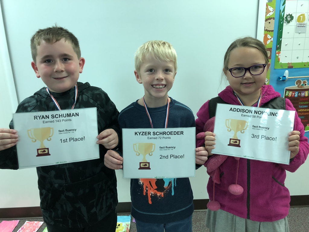 Fact fluency challenge-1st Ryan, 2nd Kyzer and 3rd Addie. Way to go kids!