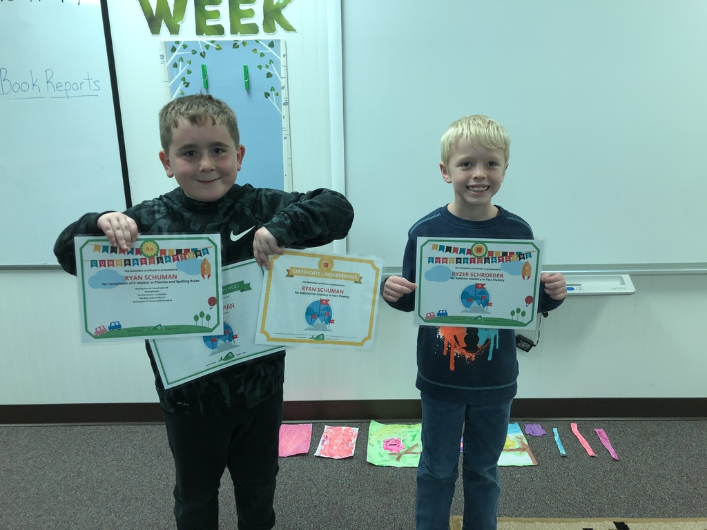 These two smart kids earned some certificates this week. Nice work Ryan and Kyzer