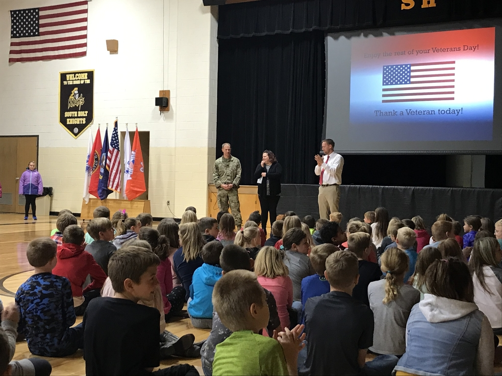 Captain Josh Showalter stops by for the end of the Veterans Day assembly.