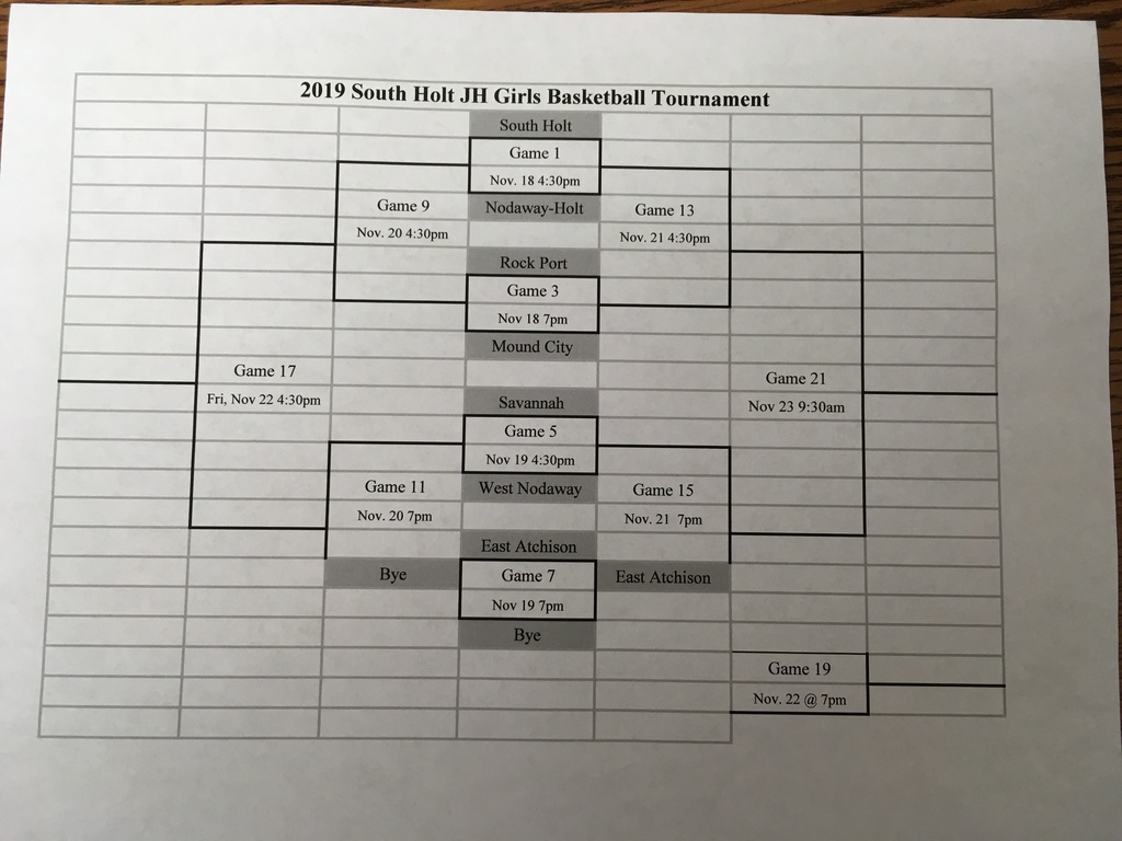 SH JH Girls Tournament Bracket