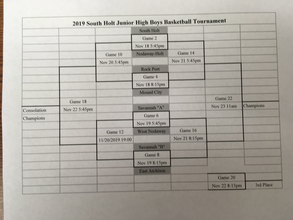 SH JH Boys Tournament Bracket