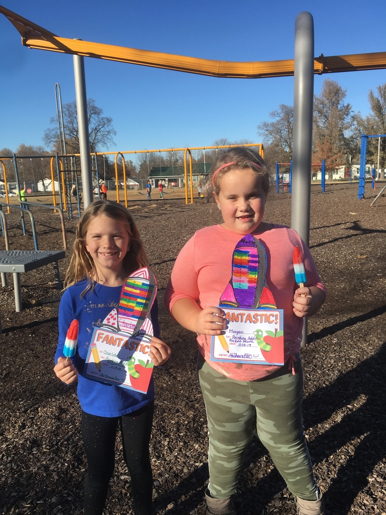 Congratulations to these two 2nd graders for earning a certificate and a Bomb Pop. They finished their Addition Rocket Math facts and move onto Subtraction.