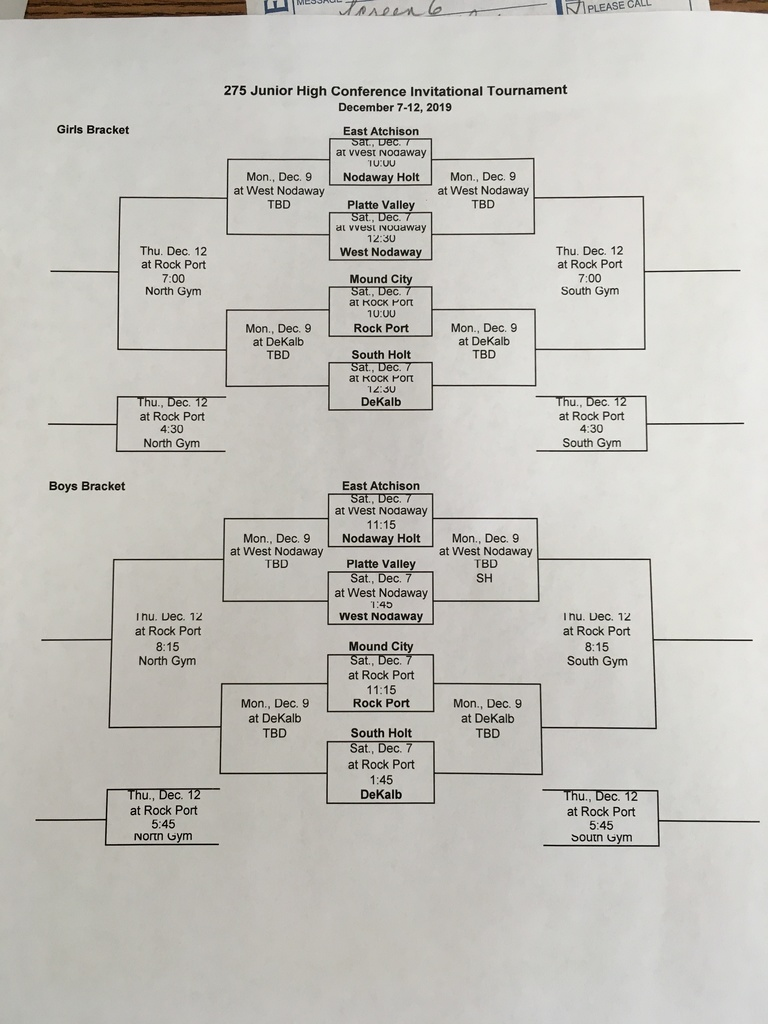 2019 275 Conference JH BB Tournament Bracket