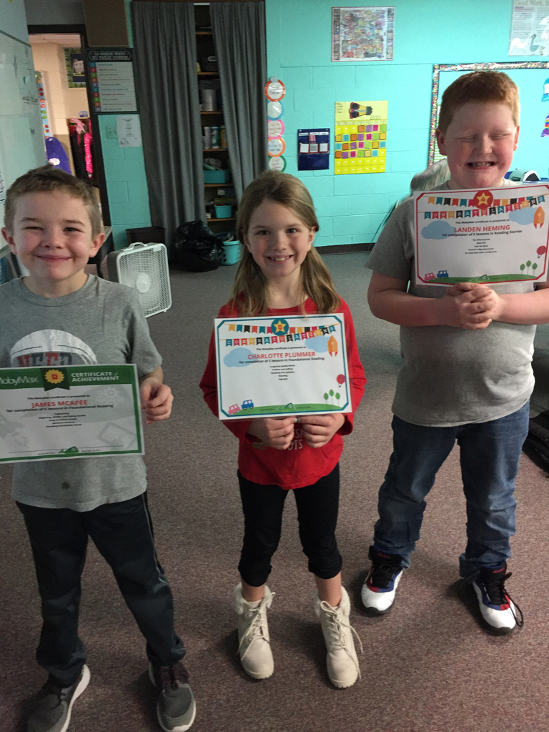 Congrats to James, Charlotte and Landen on your MobyMax quizzes.