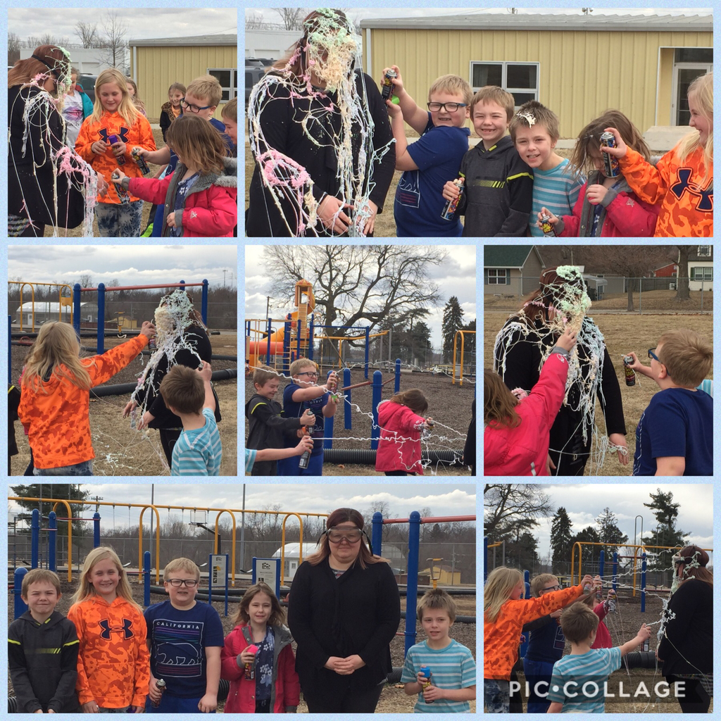 5 students from Ms. Showalter's class got to Silly String the teacher. Good job to Caleb, James, Aggi, Averie and Hale on being the first to complete your book reports for February. You got me good!!!